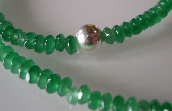 Genuine emerald necklace with sterling by PamelaFranceAntiques