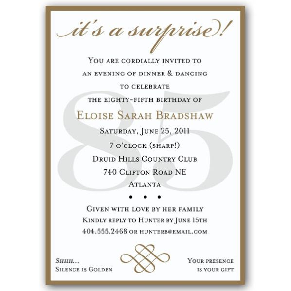 85th Birthday Invitations Intended For