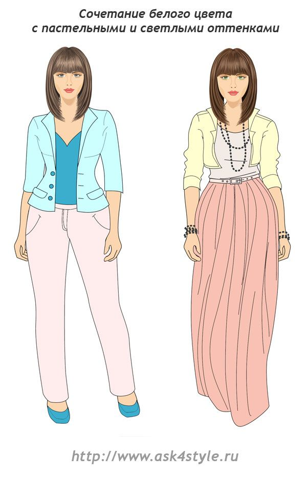 combination of white with bright and pastel colors. Cool pastels vs. warm pastels.