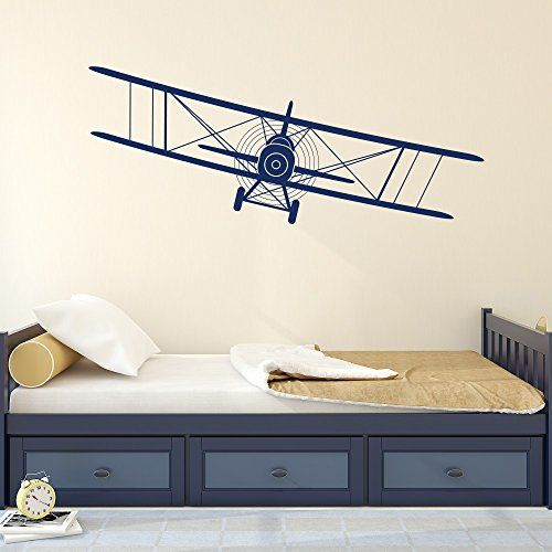 Biplane decal airplane wall decals plane stickers nursery for Aviation wall mural