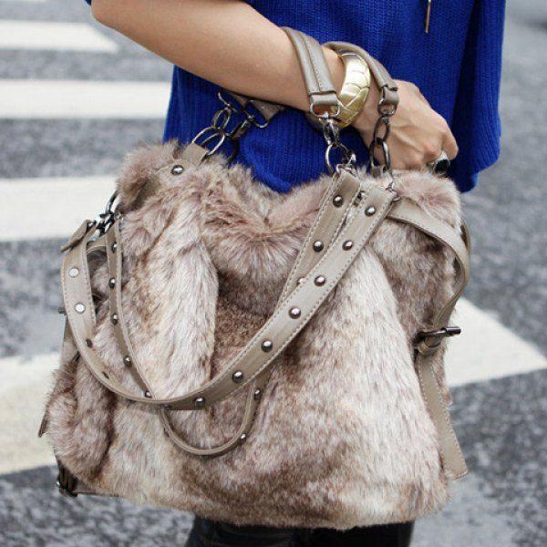 Trendy Casual Elegant Rivets and Faux Fur Design Women's Tote Bag, KHAKI in Tote Bags | DressLily.com