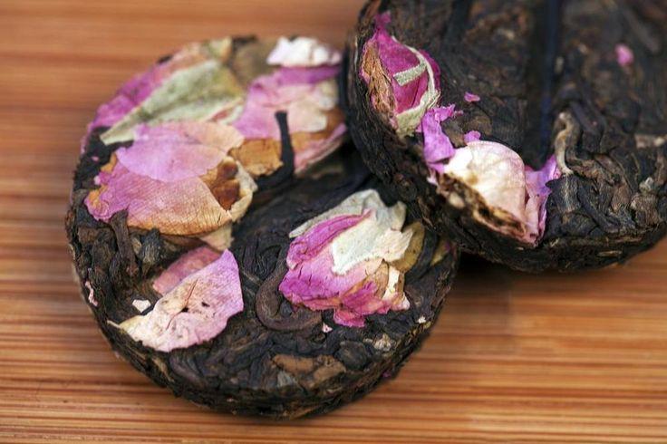 40 Rose flower mini tea cakes, total 320 grams fermented Pu Erh tea box packing #JOHNLEEMUSHROOM