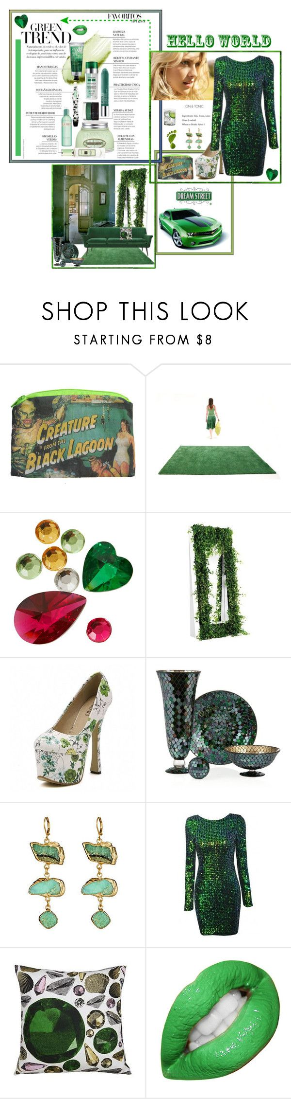 """Green"" by amethystes ❤ liked on Polyvore featuring nanimarquina, Topshop, Opinion Ciatti, Pantone, Mali Sabatasso, Studio Lisa Bengtsson, GREEN, Sequins, jollychic and estyle"