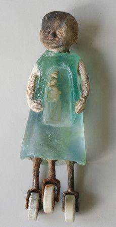 Kundalini 2011 cast glass window glass raku clay found objects oil paint