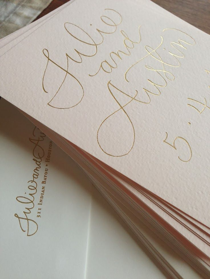 Calligraphy in Gold Foil on Soft Pink Cotton