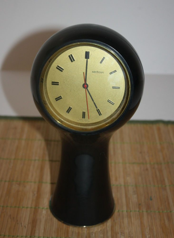 "Secticon Black Mantel Clock Swiss Made Portescap Non-Working 9"""