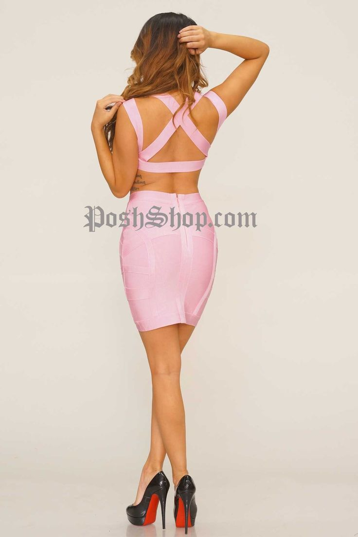 Arianna Bandage Two Piece - Pink