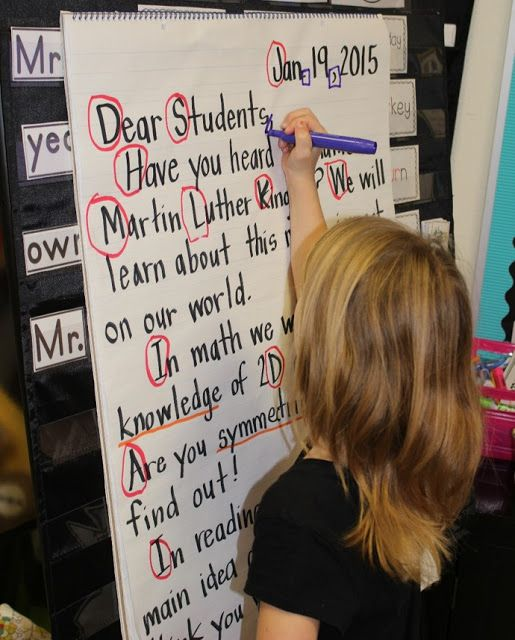 Great idea for a morning meeting activity: have kids read a morning message and come up to circle specific letters and sounds! :)