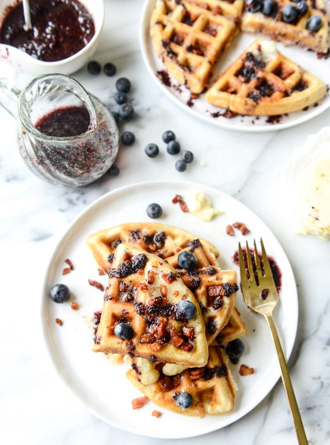 Crispy Bacon Waffles with Bourbon Butter and Blueberry Syrup. FoodBlogs.com