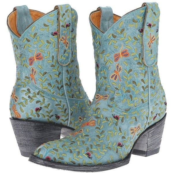 Old Gringo Dragon Fly Women's Shoes ($475) ❤ liked on Polyvore featuring shoes, boots, ankle booties, ankle boots, short cowboy boots, tan booties, vintage cowboy boots, western ankle boots and western boots