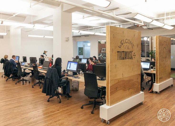 "One Medical Group's Experimental (and Successful) Office Design - ""Prior to the redesign, the space was filled with cubicles but we removed them and implemented an entirely new floor plan. This office was redesigned to hold all of One Medical Group's New York employees in the same building."" The dividers on wheels help divide the space when needed. - @Homepolish New York City"