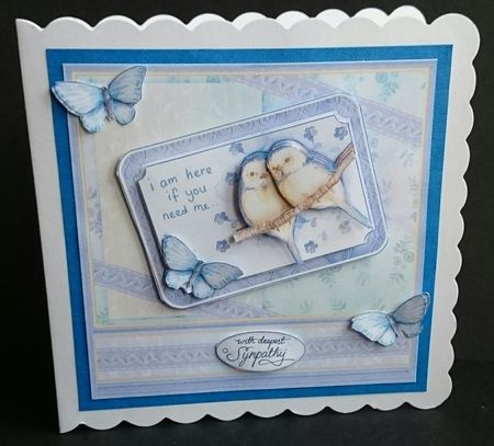 Im Here If You Need Me 8x8 Sympathy Decoupage   Insert Mini Kit on Craftsuprint created by Sue Soules - I printed the sheets onto matte photo paper.   I cut out the main picture and layered it onto some blue card and then a white scalloped card blank.   The decoupage was added using foam pads.