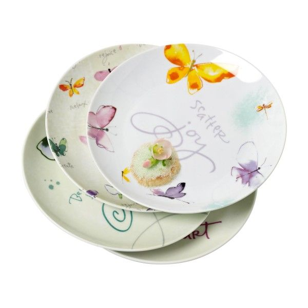 KD T6659 EC Set Of Four Porcelain Dessert Plates By Kathy Davis
