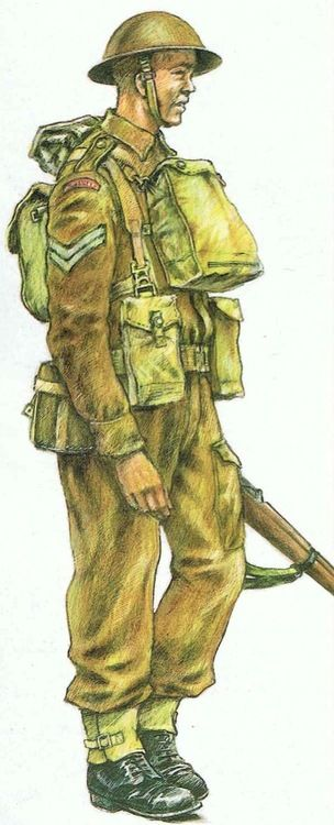 A British soldier, in early World War II garb.
