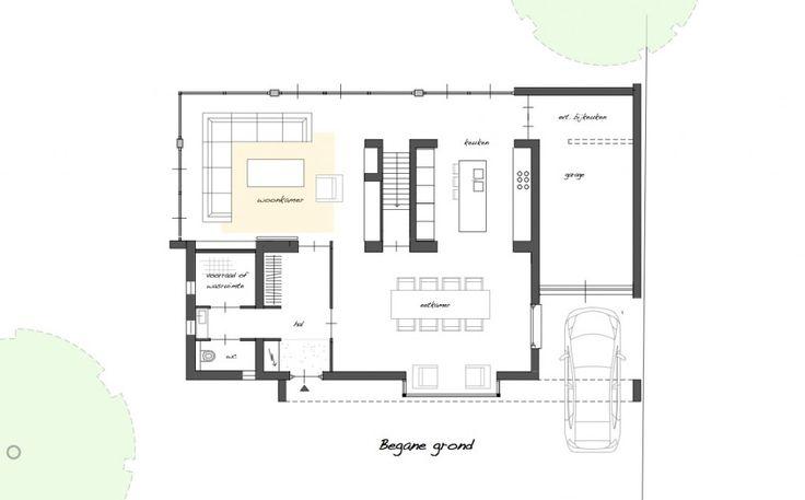 en dan aan de bovenkant binnenkomen (bij de trap of zo) en de woonkamer op dezelfde lijn als de eetkamer. Veel licht zo in de keuken
