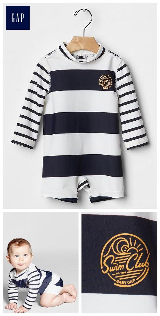 Stripe rashguard one-piece @gap #babywear #MockingbirdStation