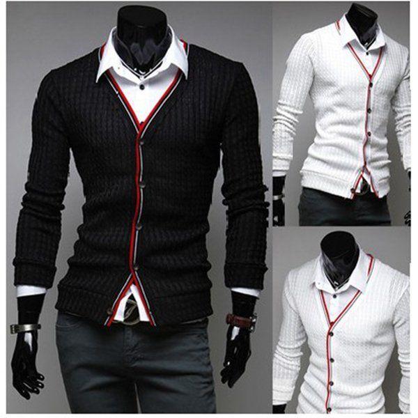 Winter Black White Business Casual Slim Mens Cardigan Sweaters