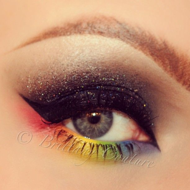 Rainbow under eye eyeshadow