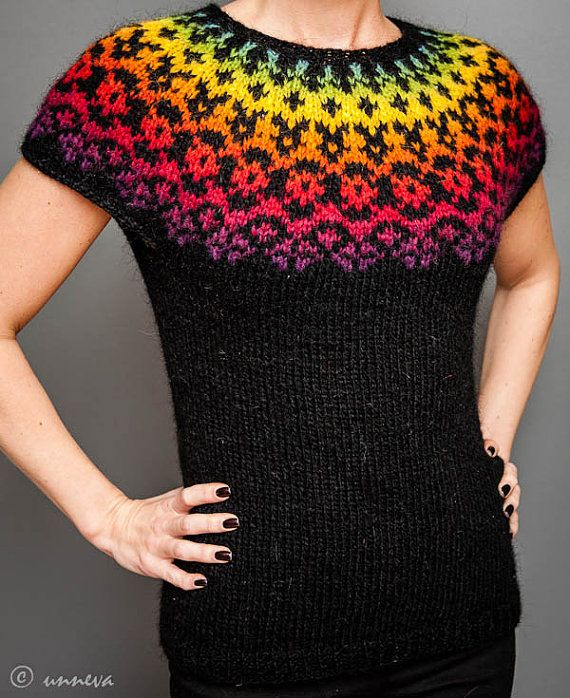 Icelandic Lopi Vest  Over the rainbow by unneva on Etsy, $100.00