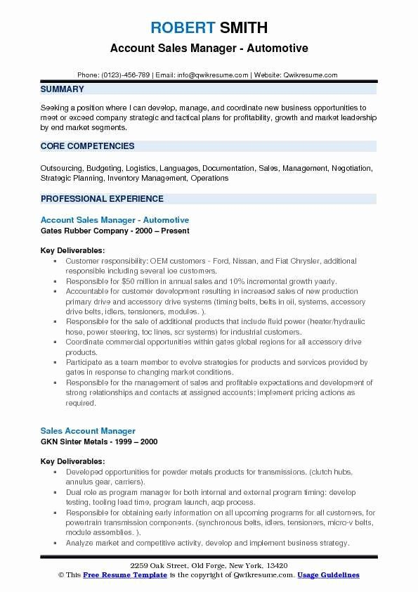 Automotive Sales Manager Resume Fresh Account Sales Manager Resume Samples