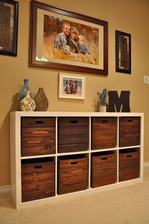 with open cubbies, can add weathered crates to add to the rustic look in the basement