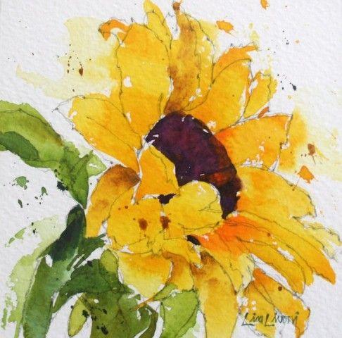 Sunflower, yellow, flowers, Napa Valley artist, Farmers Market, watercolor, painting, fine art, Lisa Livoni