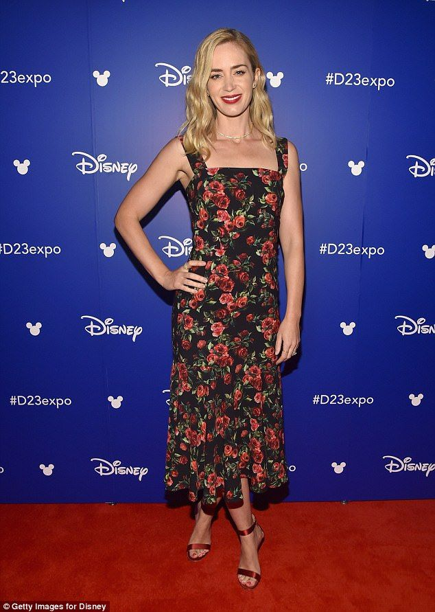 Petal power: Emily Blunt came up roses as she dazzled at Walt Disney Studios D23 Expo in Anaheim, California, on Saturday