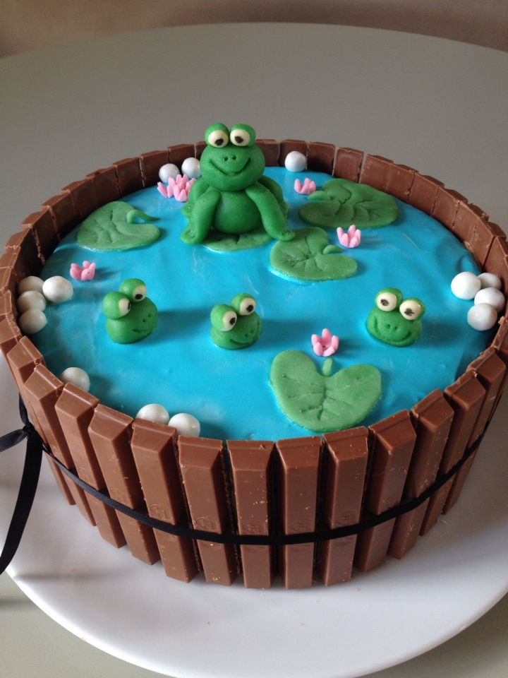 Kitkat frog cake  Chocolate cake with chocolate IMBC  and kitkats