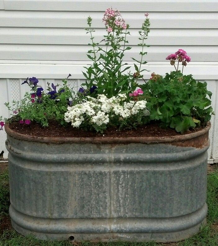 Today, I repurposed an old rusted galvanized water trough into a rustic-looking, raised flower bed!