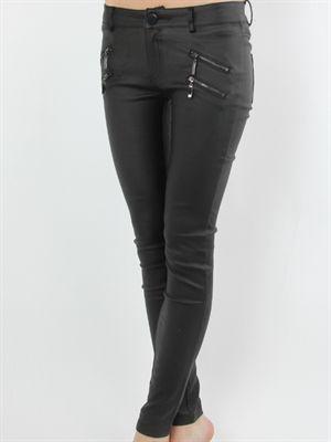 Zanca Sonne - Læderlook buks med lynlåse på front