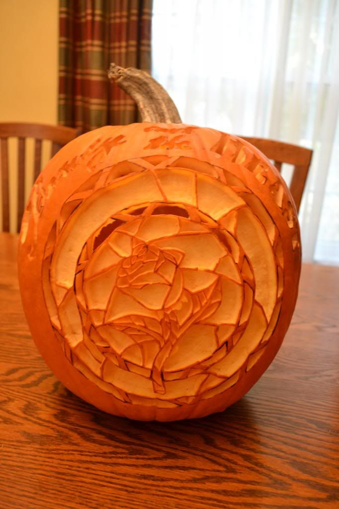 Beauty and the Beast Stained Glass Pumpkin Carving. Simply AMAZING! // Nerdfighter Pumpkin Carving Contest page 2013