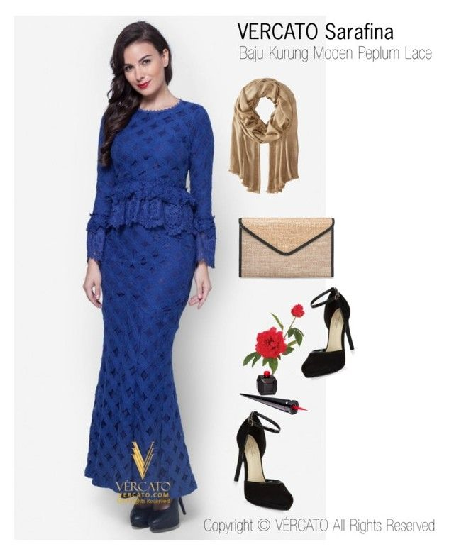 """Baju Kurung Lace Terkini 2016"" by vercato on Polyvore featuring Baju Kurung Moden Peplum Lace - Vercato Sarafina in Blue. SHOP NOW: www.vercato.com"