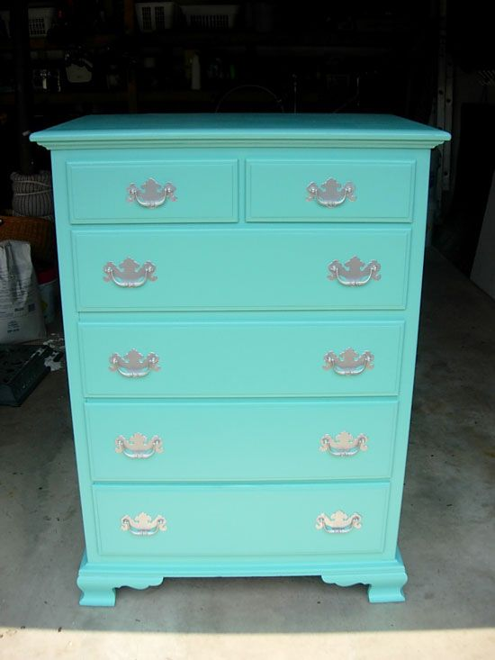 Re-done dresser in Valspar paint Seafarer, Rust-Oleum Specialty Metallic Spray Paint in Silver for the drawer pulls