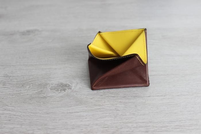Porte monnaie homme Hurbane - cuir brun et jaune