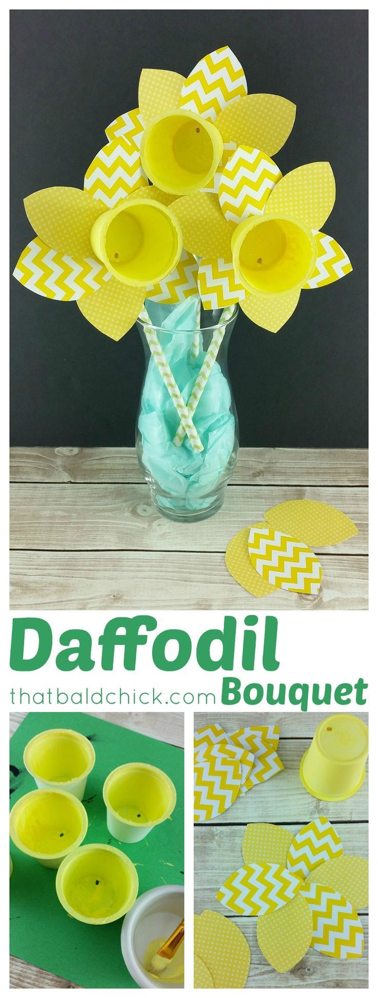 Easy spring crafts for seniors - Daffodil Bouquet Craft At Thatbaldchick Com Senior Activitiesspring