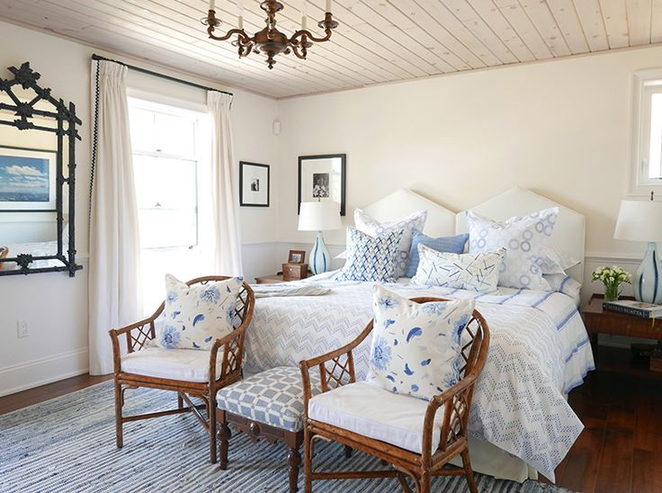 Rattan Chair And Mirror, Vintage Chandelier, Beadboard On Ceiling, Blue And  White Bedroom Part 81
