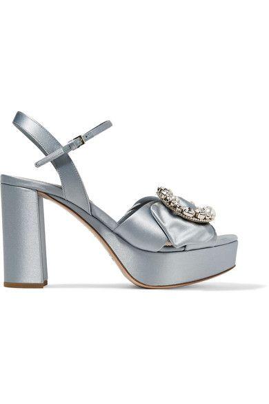 Miu Miu - Embellished Satin Platform Sandals - Sky blue - IT38.5