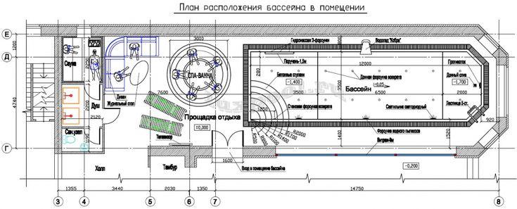 Проект бассейна, план в помещении