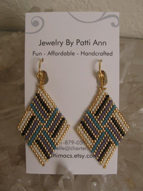 Bead Woven Diamond Shape Earrings Copyright Patti by pattimacs