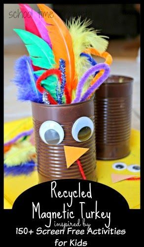 Recycled Magnetic Turkey & 150+ Screen-Free Activities for Kids
