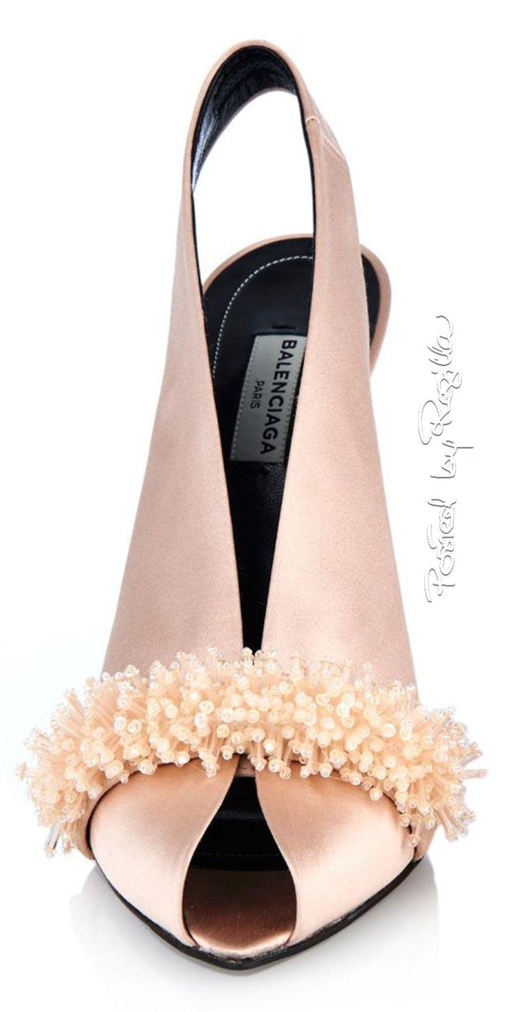 women shoe website, womens shoes large sizes, womens casual shoes - Yes please! Balenciaga ~ Spring Satin Slingback Open Toe Pumps, Blush w Toe Details 2015