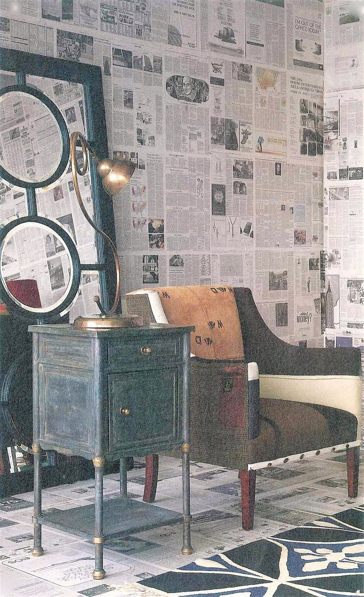 What David Digs: It's Green and Cheap (but Chic) - Use Newspaper as Wallpaper