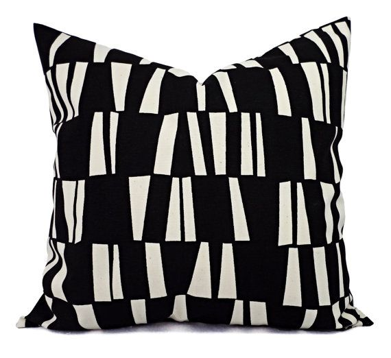 Black Geometric Pillow Covers! Two black and cream decorative pillows. These couch pillow cushion covers fit any size pillow insert from a 12 x