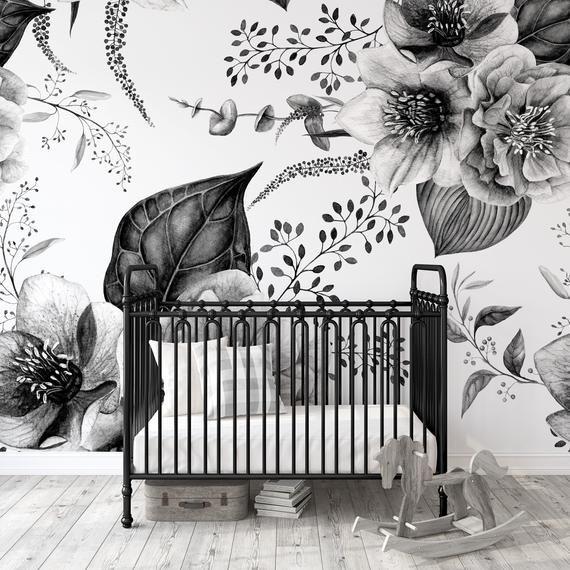 Vintage Black And White Floral Wallpaper Peel And Stick Etsy Floral Wallpaper Wallpaper Nursery Decor Girl