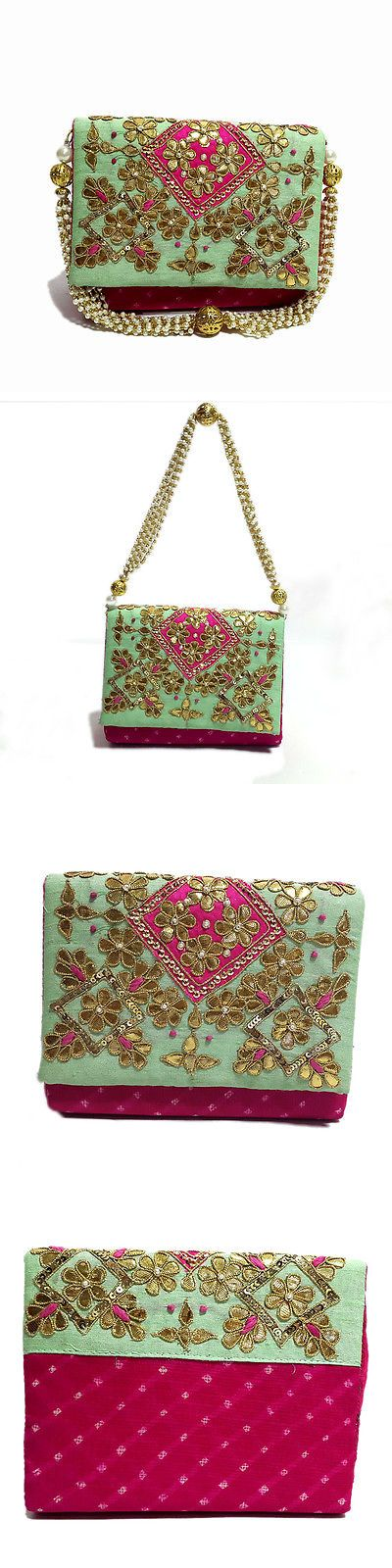 Bridal Handbags And Bags: Women Girl Pink And Green Handcrafted Party Wedding Handmade Clutch Purse Bag -> BUY IT NOW ONLY: $31.5 on eBay!