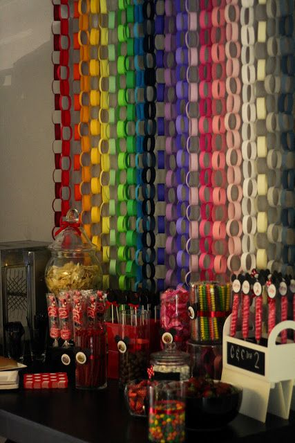 Rainbow paper chain for Dessert Table Backdrop or Photo Booth Idea: Controlled Chaos
