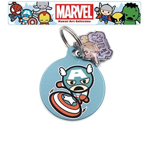 happypettag Personalized Pet Tag Captain America Pet ID Tag Customized Pet ID Tags Dogs Cat ID Tags Double Side Dye Sublimation Marvel Superhero Pet Tag Includes 3 Lines Customized Text on back ** You can find out more details at the link of the image.