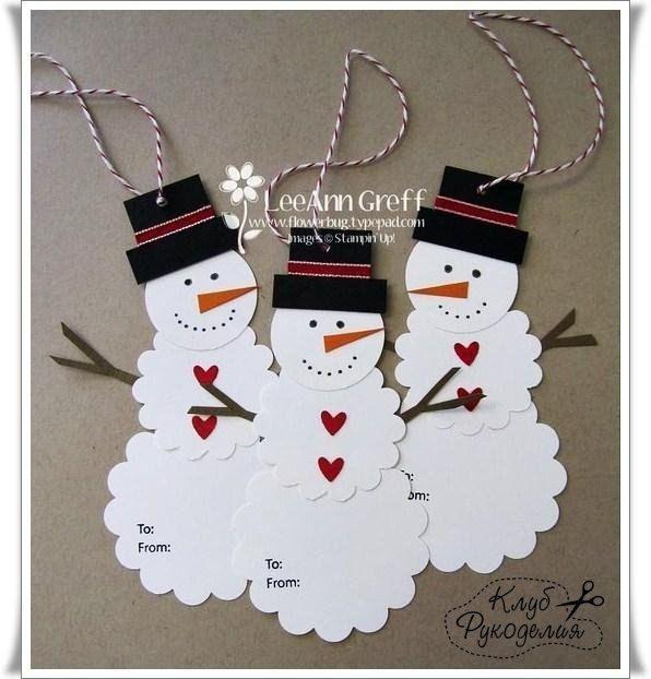 Снеговик подвеска из бумаги