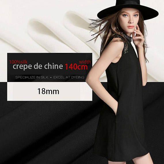"""largeur 18mm 55"""" blanc par demi-mètre DF992 noir pour Pure soie crêpe de Chine tissu mode vêtements vêtements"""