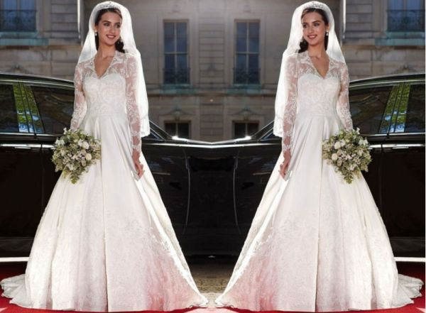 Long Sleeved Satin And Lace Ball Gown -- Style WG3401